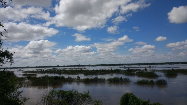 The flooded lands in Mekong river